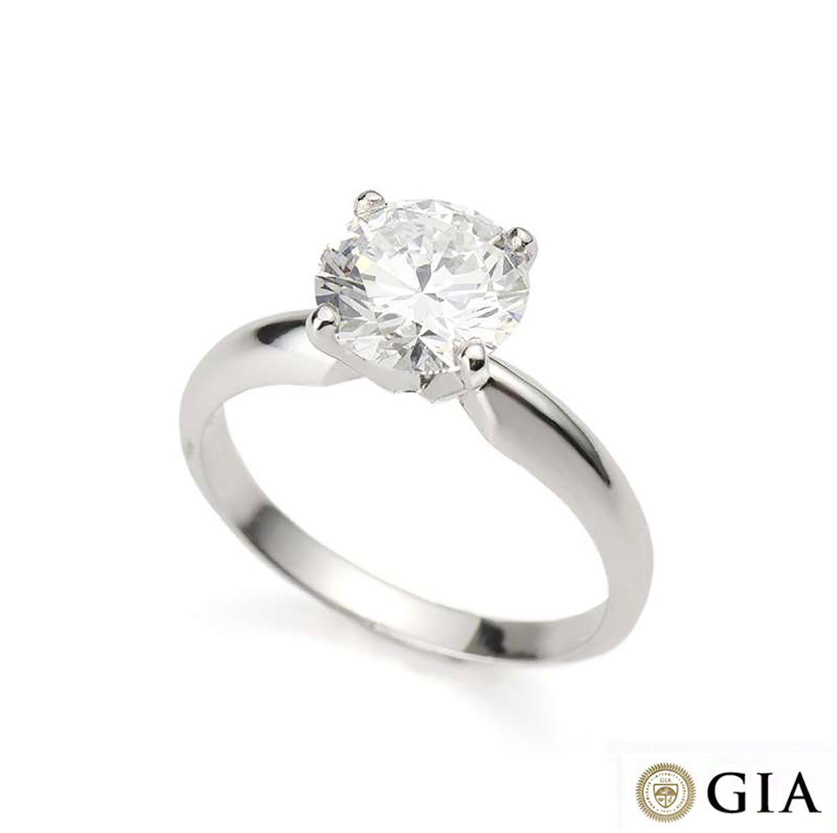 Round Brilliant Cut Diamond Ring in Platinum 1.55ct D/VVS2